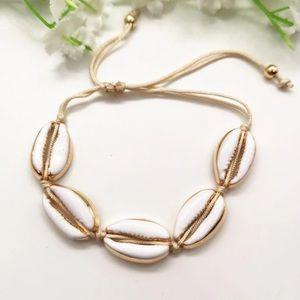 Cowrie Shell Gold Adjustable Arm Ankle Bracelet!